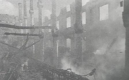 Fábrica de Canut después de arder